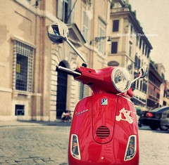 Vespa Tuesday (Violet Kashi) Tags: street red italy blur rome texture reflections photography vespa crossprocess scooter picnik