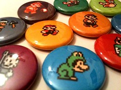 SUPER MARIO BROS - a pinback button set (skippydogdesigns) Tags: game pin forsale nintendo videogames badge button nes etsy supermario supermariobros classicgames pinbackbuttons