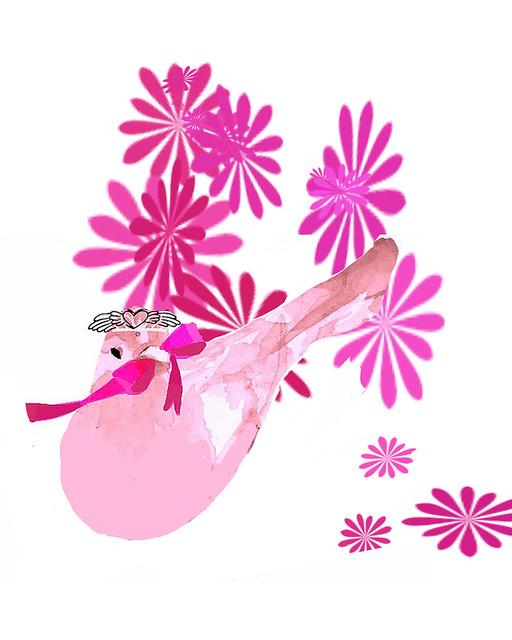 pink bird art deco
