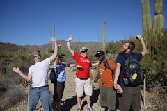Joel Dewald, Rachel Hershey, Peter Labosh, Cody Walker, Austin Showalter at the Desert Museum posing as cacti