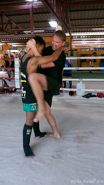 learning clinching and grappling at Muay Thai Training in Thailand