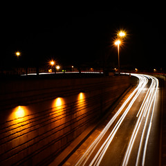 Follow the white light! (Arianna_M) Tags: auto road longexposure light white cars night speed colours traffic highcontrast firenze luci notte lampioni velocit oscurit fanali ponteallavittoria