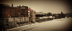 Rivers Edge (Corrie Brookhouse (ADORNMENT PHOTOGRAPHY)) Tags: old winter cambridge ontario canada cold ice water river frozen cityscape rustic dirty grandriver grungy galt fridgid adornmentphotography