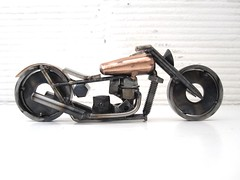 Copper and Metal Motorcycle Sculpture