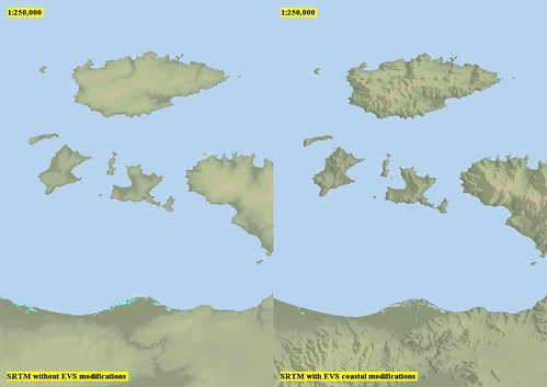 Marmara Island Vicinity - SRTM with EVS Modifications Before and After (1-250,000)