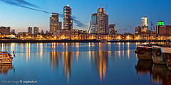 Katendrecht / Kop van Zuid / Maashaven / Rotterdam (zzapback) Tags: world new blue holland reflection netherlands dutch architecture night port photography boot 50mm rotterdam nikon orleans europe long exposure blauw fotografie nacht f14 nederland center sharp enjoy hour montevideo avond kopvanzuid architectuur erasmusbrug tack reflectie schip scheepvaart maashaven uur binnenvaart kvz derotterdam katendrecht hoogbouw brielselaan d700 maastoren tarwewijk zzapback zzapbacknl robdevoogd robertdevoogd