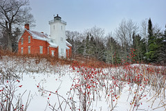 """Winter Berries""  40 Mile Point Lighthouse, Rogers City Michigan (Michigan Nut) Tags: winter red usa snow geotagged photography vines recent michiganlighthouses winterberries johnmccormick rogerscitymichigan 40milepointlighthouse michiganhistoricmarker michigannut"