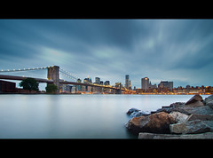 Blue Brooklyn Bridge (RBudhu) Tags: nyc newyorkcity beach john washington manhattan landmark southstreetseaport brooklynbridge gothamist suspensionbridge johnroebling hdr touristattraction gawker roebling newyorkcityskyline newyorklandmark nationallandmark washingtonroebling