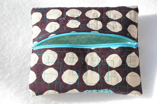 "Zipper pouch, 7"" square"