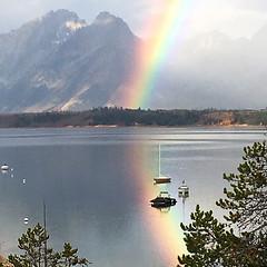 Rainbow on Jackson Lake (Bonnie Bowne) Tags: rainbow grandteton jacksonlake signalmountain wyoming