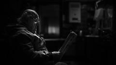 Don Dante (Diego Epstein) Tags: elderly elder d600 nikon nikkor 50mmf14g 50mm portrait retrato blancoynegro blackandwhite lowkey clavebaja anciano ancient newspaper periodico diario kitchen cocina
