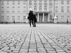 in front of the castle (fotolabyrinth) Tags: fujifim x100s blackwhite streetphoto street karlsruhe schloss schlossplatz schwarzweiss perspektive architektur
