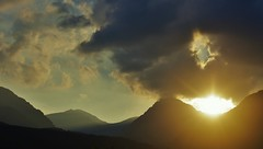 Sunset Through the Arrochar Alps (brightondj - getting the most from a cheap compact) Tags: scotland trossachs inversnaid fifthwalk sunset sun light arrocharalps summer2016 holiday summerholiday uk britain ukholiday