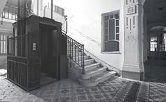 I'm afraid to go up (Tamara de Koning) Tags: black zw zwart white wit bw decay derelict dusty abandoned hallway light leeg licht tamaradekoning hotel france verlassen hell horror eerie eery lift elevator