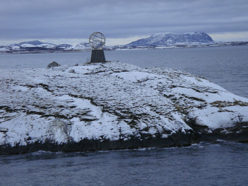 Arctic circle marked with a globe