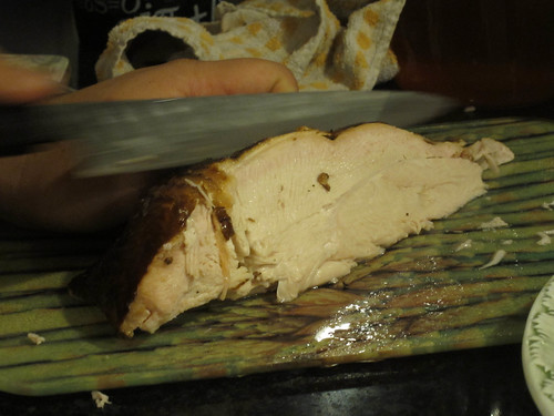 Carving the turkey breast