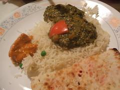 Peshawary naan, rice, palak chole, chicken tikka masala