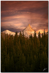 lucid dreaming (chris frick) Tags: trees light sunset sky mountains photoshop landscape zoom tripod roadtrip yosemite tele honesty alpenglow blending tuolumnemeadows cathedralpeak mountainscape 105mm a700 luciddreaming sonyalpha700 remoteshuttercontrol chrisfrick
