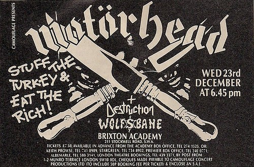 12/23/87 Motorhead/Destruction/Wolfsbane @ London, England (Ad)
