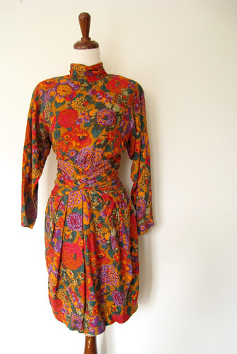 Bold Bouquet Saks Fifth Ave Draped Dress, Vintage 80's