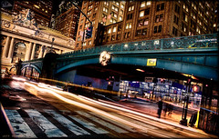 Pershing Square II (Jeff_B.) Tags: nyc newyorkcity bridge newyork motion cars night america buildings evening colorful manhattan grandcentralstation pershingsquare pershing traffice grandcentralterminal lightstreams
