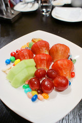Fruits  (Yoshio Taka) Tags: dinner restaurant taiwan taipei buffet       xinyidistrict  latestrecipe   songrenrd  lemeridientaipei  itanlianfood