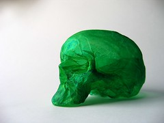 colour collection paper sculpture: green paper skull (polyscene) Tags: sculpture art paper paperart polly poly verity papersculpture polyscene pollyverity papersculptures