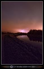 'Failed' Lightning shot (Erroba) Tags: lightning thunder storm failed night river dijle mechelen longexposure purple pink orange blue belgium belgi belgique canon 400d rebel xti photoshop cs3 tips erroba erlendrobaye erlend robaye