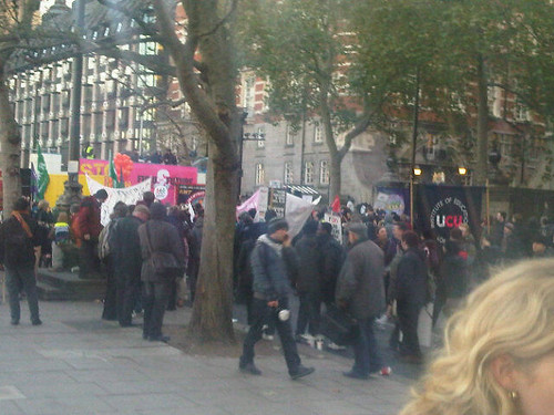 The UCU NUS demonstration on Victoria Embankment.