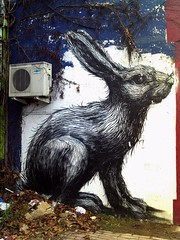 ROA rabbit in winter, Hackney Road, London, Dec. 2010 (Cybermyth13) Tags: street city uk winter england urban streetart rabbit london art animal wall painting giant fun graffiti mural funny drawing eastlondon roa hackneyroad londonist bigsmoke thepremises roarabbit