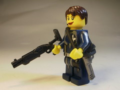 "Sally ""Femme Fatal"" Pearson (CrazyBrck) Tags: female lego scifi shotgun custom agents magnum minifigure"