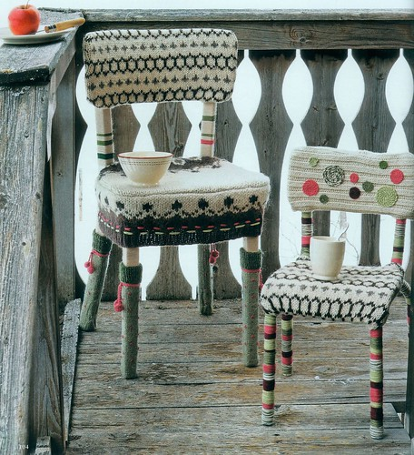 Chairs with kntted covers and motifs