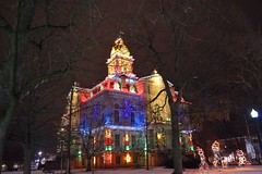Licking County Courthouse in Newark, Ohio With Christmas Lights