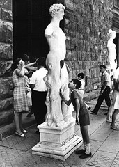 Florence, Italy, 1968 (Lasse Persson) Tags: street bw italy statue florence