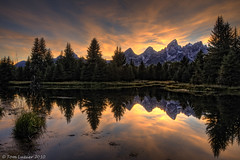 Fiery Teton Sky (Outdoor Photographer Magazine May 2011) (Tom Lussier Photography) Tags: sunset mountain water reflections landscape nationalpark nikon rockymountain wyoming grandtetonnationalpark d300 schwabacherslanding outdoorphotographermagazine tomlussier tpslandscape