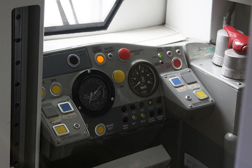 Drivers cab of a Disneyland Resort Line train
