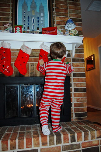 Harry checking out the stockings.