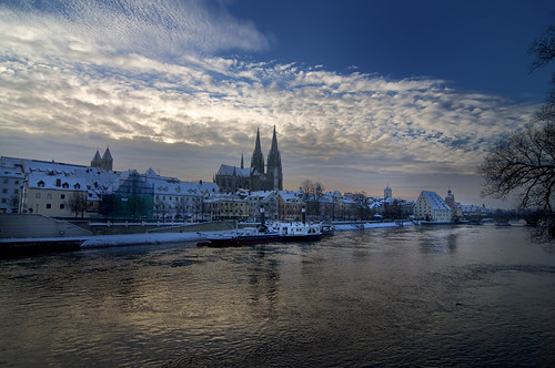 Regensburg, Germany waterfront in winter