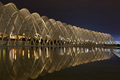 Calatrava - Olympic Agora @ night (* K a t e r i n a) Tags: nightphotography reflection architecture geometry stadium curves athens greece calatrava olympic agora santiagocalatrava  olympicagora geometriegeometry