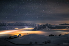 World above the clouds  (dmkdmkdmk) Tags: winter sea snow mountains alps cold nature fog night clouds dark stars landscape lights switzerland swiss hdr hausnebelseelauerzersee