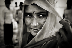The Natural Beauty of a Village Woman (Sayid Budhi) Tags: portrait people bw woman india girl field lady village veil fatehpursikri human cultural humanitarian photojournalist bwblackandwhite rurallife northindia uttarpradesh indiangirl incredibleindia ladyinveil photographictour humaninterestphotography travelasiaphotographycom