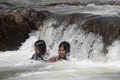 Ladies enjoying waterfalls (Light and Life -Murali ) Tags: vacation people india water kids fun tour tea kerala waterfalls enjoy cheers wayanad teaestate godsowncountry alagar muralidharan muralidharanalagar 2010yearendvacation kanthapara kanthaparawaterfalls img3314p1sc canon70200mm14isusmlens