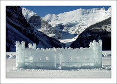 Ice Palace in Lake Louise (Ginas Pics) Tags: sculpture canada glacier lakelouise chateau offwhite soe iceart victoriaglacier fairmontchateaulakelouise anawesomeshot visiongroup internationalicecarvingcompetition magicicefestival icepalaceinlakelouise