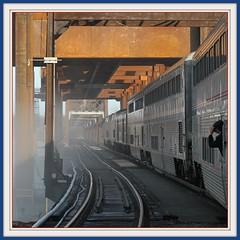 Ha! Captured... (Loco Steve) Tags: railroad travel bridge burlington train december iowa amtrak jpeg newbridge bnsf 2010 californiazephyr liftspan bridgereplacement