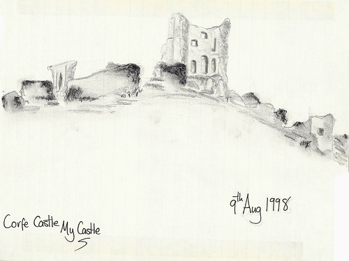 Corfe Castle Sketch - Copyright R.Weal 1998
