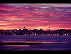 Goodmorning San Francisco...uhhhh I mean New Jersey (Jaime973) Tags: sanfrancisco california city longexposure sunrise canon 50mm raw wakeup goldengatebridgelookout bargegoingby missyoucalifornia