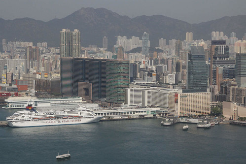 Ocean Terminal, Tsim Sha Tsui Star Ferry pier, and the rest of the Kowloon Peninsula