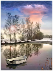 White is white (Jean-Michel Priaux) Tags: winter lake france water photoshop river painting landscape see boat natural hiver ill alsace neige paysage blanc glace anotherworld savage mattepainting littleboat ried diebolsheim priaux