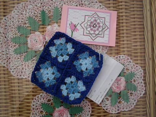 Didsbury 13 (UK) Your Square arrived today for our Challenege. Jan Eaton 43 'Four Patch Granny' - I love it! Love the Blues! Thank you!