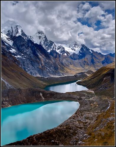 Tres lagunas (Three lakes): Quesillococha, Siulacocha and Qanrajankacocha lakes - Huayhuash Trek in Peru